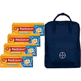 Bộ 4 Hộp Viên Sủi Bổ Sung Vitamin C, D, Và Kẽm Redoxon Triple Action Hộp 10 Viên - Tặng Kèm Balo (Màu Ngẫu Nhiên)