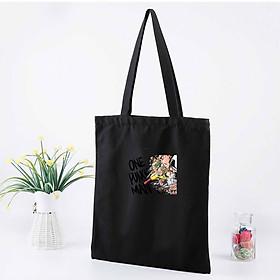 Túi tote vải đeo vai đen trắng in hình One Punch Man anime