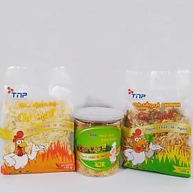Combo 1 hũ chà bông heo TNP 100g, 1 gói chà bông gà TNP gói 150g và 1 gói gà sấy lá chanh TNP gói 150g