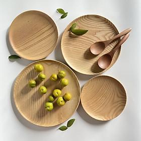 Khay, Đĩa , Thớt gỗ Tần bì nguyên khối chất lượng cao màu sáng đựng thức ăn, hoa quả , decor
