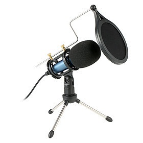 Condenser Microphone with 3.5mm Cable Noise Reduction/Tripod Stand/Pop Filter/Support Outputting to Earphone/Multiple