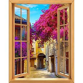 Tranh dán tường cửa sổ gỗ 3D ngõ phố VTC GOD-0177-2