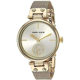 Anne Klein Women's AK/3001GPBL Swarovski Crystal Accented Gold-Tone and Blue Mesh Bracelet Watch