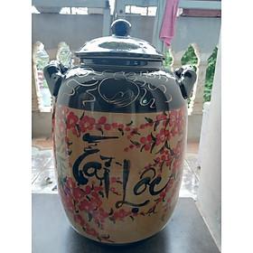 Hũ đựng gạo vẽ phong cảnh gốm sứ Bát Tràng loại 15L ( 10Kg gạo)
