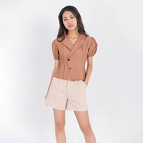 Áo kiểu thời trang Eden cổ vest xếp li. Dáng ngắn trẻ trung. Chất liệu thoáng mát. Freesize - ASM085
