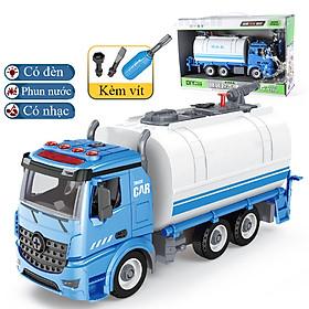Bộ đồ chơi lắp ghép xe bồn phun nước KAVY có nhạc và đèn dạng mô hình lắp ráp xe giúp bé phát triển thực hành