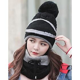 Mũ nón len nữ kèm khăn choàng cổ len kèm khẩu trang dn19111309