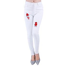 Quần Jeans Kaki Trắng Nữ Thêu Hoa Đỏ JKN005