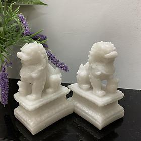 Cặp tượng đá kỳ lân trang trí phong thủy - Kỳ lân cao 12cm - Đá trắng đá non nước
