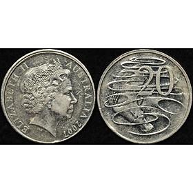 Đồng xu Úc 20 cent in hình Nữ hoàng Elizabeth II đã già