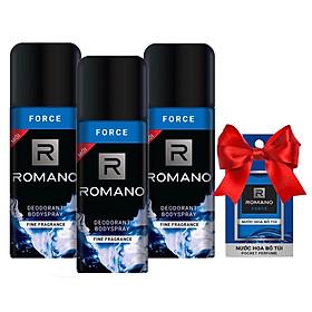 Bộ 3 chai xịt khử mùi  Romano Force 150ml +Tặng kèm nước hoa bỏ túi Romano 18ml(Màu ngẫu nhiên)