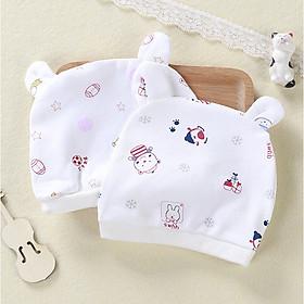 Combo 2 Mũ Che Thóp Cotton Mềm Cho Trẻ Sơ Sinh 0-6 Tháng - Họa Tiết Bé Gái