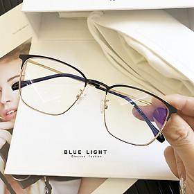 Kính Giả Cận, Gọng Kính Cận Nam Nữ Mắt Vuông Đen Vàng Thanh Lịch Hàn Quốc - BLUE LIGHT SHOP
