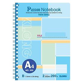 Sổ lò xo kép bìa nhựa A4 - 200 trang; Klong TP899 màu xanh