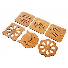 Combo 6 lót nồi gỗ chịu nhiệt nhiều hình dễ thương - giao hình ngẫu nhiên