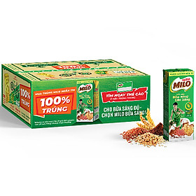 Sữa Lúa Mạch Nestlé MILO Bữa Sáng Thùng 36 Hộp x 180ml (12 x 3 x 180ml) - Phiên bản khuyến mãi 100%