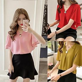 Women V Collar Medium Sleeve Chiffon Blouse T-shirt