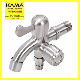 Vòi hồ inox 304, vòi nước máy inox 304 KAMA PK08, vòi nước máy giặt đa chức năng, vòi nước rửa tay đa chức năng inox 304 - cân nặng 395 gram, màu sắc nguyên bản không gỉ - Hàng mới 2020