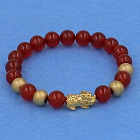 Chuỗi đeo tay mã não đỏ 8 ly - cẩn Tỳ Hưu inox vàng VMNOTHVB8 - hợp mệnh Hỏa, mệnh Thổ