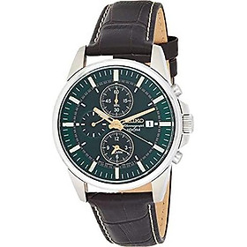Seiko #SNAF09 Men's Leather Band Green Dial Alarm Chronograph Watch