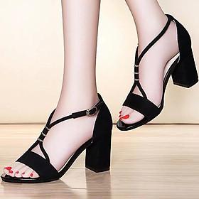 Dép sandal gót vuông đen