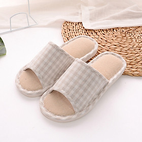 Hình đại diện sản phẩm Yule couple home indoor light and simple wooden floor linen slippers female models YT2529 red 36/37
