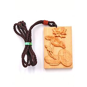 Vòng cổ mặt gỗ hoàng đàn khắc hình Hoa Sen MG103