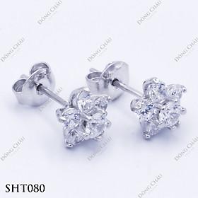 Hoa tai đích đẩy hình hoa đính kim cương nhân tạo bạc Ý cao cấp - SHT080