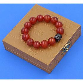 Vòng đeo tay mã não đỏ 14 ly cẩn hạt Phật A Di Đà inox đen VMNONLE14 HỘP GỖ - hợp mệnh Hỏa, mệnh Thổ