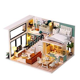 Nhà búp bê lắp ghép bằng gỗ có đèn Led, mẫu Comfortable Life tặng kèm dụng cụ lắp ráp, keo silicon