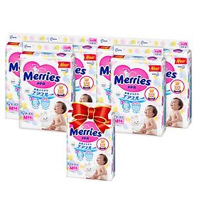 MUA 6 Tã/bỉm dán Merries size M - 64 miếng (Cho bé 6 - 11kg) - Tặng 1 gói cùng loại