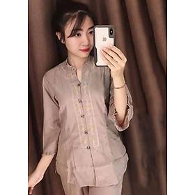 Áo Lam Đi Chùa - Cổ Bèo Kate Màu Cà Phê