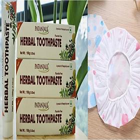 COMBO:Kem đánh răng dược liệu Ấn Độ Patanjali Herbal Toothpaste tặng mũ trùm đầu cao cấp