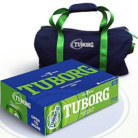 Thùng 24 Lon Bia Tuborg (24 Lon  X 330Ml) + 1 Túi Du Lịch Thời Thượng