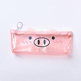 Hộp bút nhựa trong suốt heo hồng - nhiều mẫu