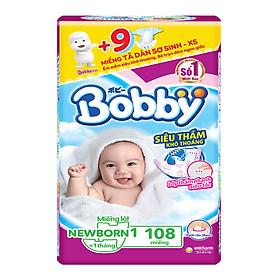 Miếng Lót Sơ Sinh Bobby Fresh Newborn 1 - 108 (108 Miếng) + 9 Miếng Tã Dán Bobby XS