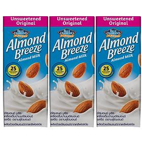 Lốc 3 sản phẩm Sữa hạt hạnh nhân ALMOND BREEZE ORIGINAL UNSWEETENED 180ml - Sản phẩm của TẬP ĐOÀN BLUE DIAMOND MỸ - Đứng đầu về sản lượng tiêu thụ tại Mỹ