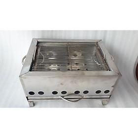 Lò nướng than hoa inox vuông 30 x40cm loại dầy có vĩ nướng bán bún thịt nướng, bánh mì, nem nướng