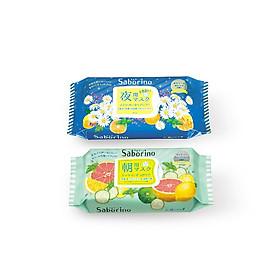 Combo mặt nạ buổi tối  Saborino Good Night và mặt nạ dưỡng ẩm buổi sáng hương bạc hà Saborino Morning  (Gói 32 Miếng)