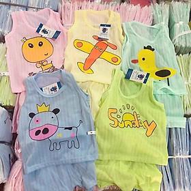 Combo 5 bộ coton giấy cho bé, áo ba lỗ quần đùi