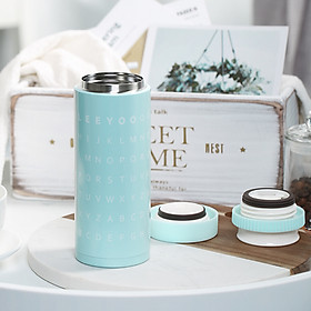 Hình đại diện sản phẩm Jia Hao 350ML letter stainless steel vacuum men and women mug cup water cold cup portable cup blue