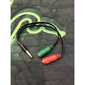 Dây chuyển 3.5 ly ra 2 lỗ micro + tai nghe màu đen