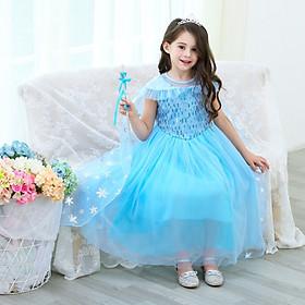 Combo Đầm Elsa Cho Bé Gái Kèm Tà Tạo Hình Hoa Tuyết Kèm (Gậy + Vương Miện + Đuôi Tóc) - HMD56D