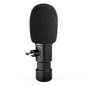 Andoer Plug-on Type-C Smartphone Microphone Video Mic with 3.5mm Monitor Interface Windscreen for Smartphone Video
