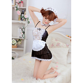 Hình đại diện sản phẩm Bộ váy ngủ ren lưới kiểu giúp việc (kèm 1 băng đô + 1 vòng cổ ren + 2 vòng tay ren + 1 tạp dề nhỏ + 1 quần lót lọt khe) VN10, Freesize