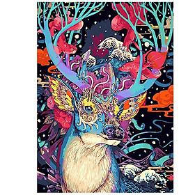 Tranh sơn dầu số hoá tự tô đã căn sẵn khung 40x50 cm - thần rừng đa sắc