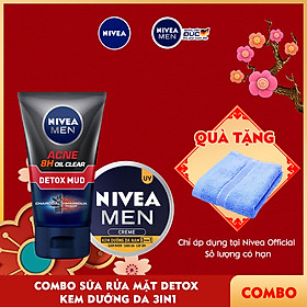 Combo NIVEA MEN chăm sóc da cho nam Sữa rửa mặt Detox Bùn khoáng giảm mụn (83940) & Kem dưỡng da 3in1 giúp sáng da cấp ẩm (83923)