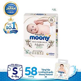 Tã dán Moony Natural S58 tặng hộp 4 miếng Tã quần Moony Natural M