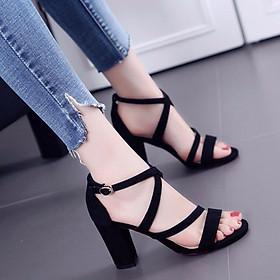 Giày Sandal Nữ Cao Gót Đẹp  Đan Chéo Da Nhung Hở Mũi Đế Vuông Cao Khoảng 7 Phân Màu Đen Phong Cách Hàn Quốc CTS-CG032DE