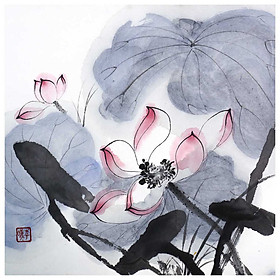 Tooarts Lotus under Sun Chinese Painting Wall Art Artist Hand-Painted Chinese Brush Painting Traditional Decoration Home